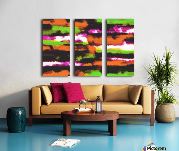 orange black pink green grunge painting texture abstract background Split Canvas print