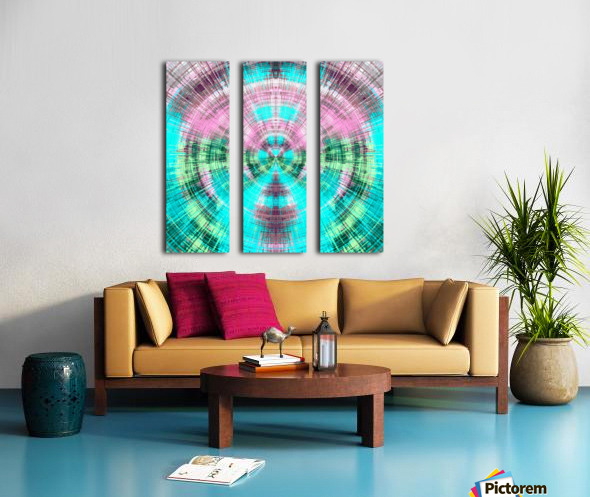 geometric pink blue and green circle plaid pattern abstract background Split Canvas print