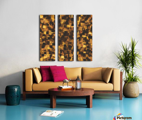 geometric square pattern abstract in brown and black Split Canvas print