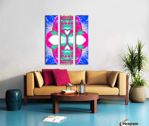 painting pink smiling skull head with blue and yellow background Split Canvas print