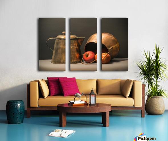 Copper Pots Pomegranate Apple Split Canvas print