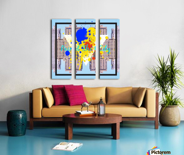 paint the city yellow blue and orange with buildings background Split Canvas print