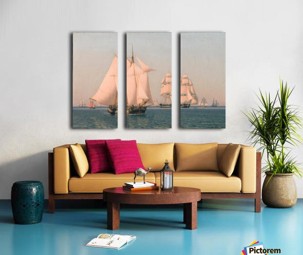 Ships under sail in mild breeze on clear summer afternoon Split Canvas print