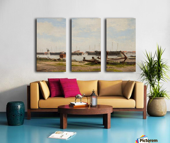 View of the wharf at Nyholm with the crane and some warships Split Canvas print