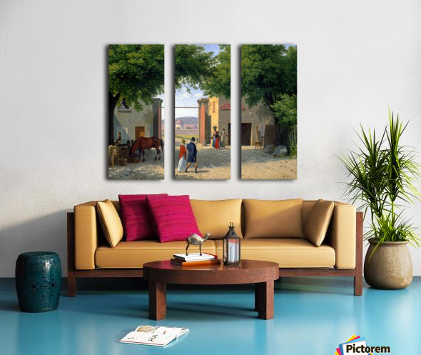 Figures walking around a villa near Rome Split Canvas print