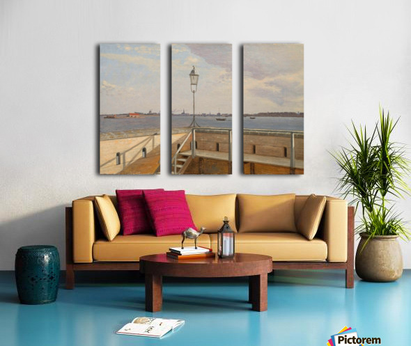View from the Trekroner Battery with Copenhagen in the distance Split Canvas print