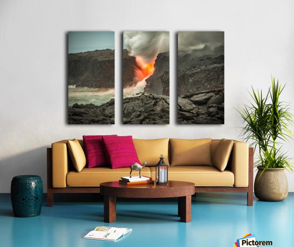 Lava Entering the Ocean Split Canvas print