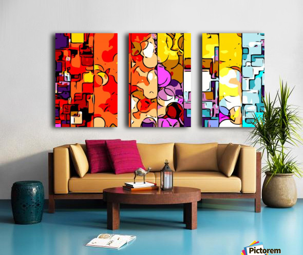 psychedelic geometric graffiti drawing and painting in orange pink red yellow blue brown purple and yellow Split Canvas print