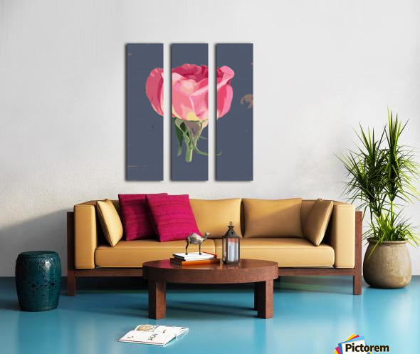 pink rose with grey background Split Canvas print