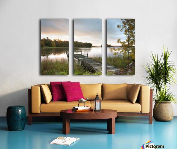A Dock On A Lake At Sunrise Near Wawa; Ontario, Canada Split Canvas print