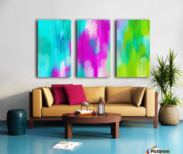 blue pink and green painting abstract background Split Canvas print