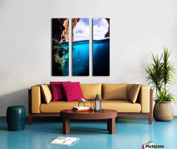 Cave diving vert Split Canvas print
