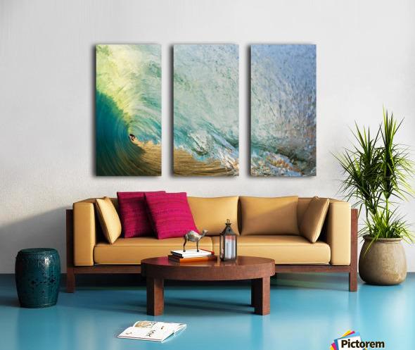 Hawaii, Maui, Makena Beach, View Of Distant Surfers Through Barrel Of Turquoise Wave, Sunset Light. Split Canvas print