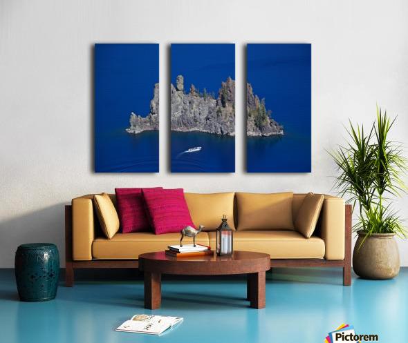 Phantom Ship and tourist boat, Crater Lake National Park    Split Canvas print