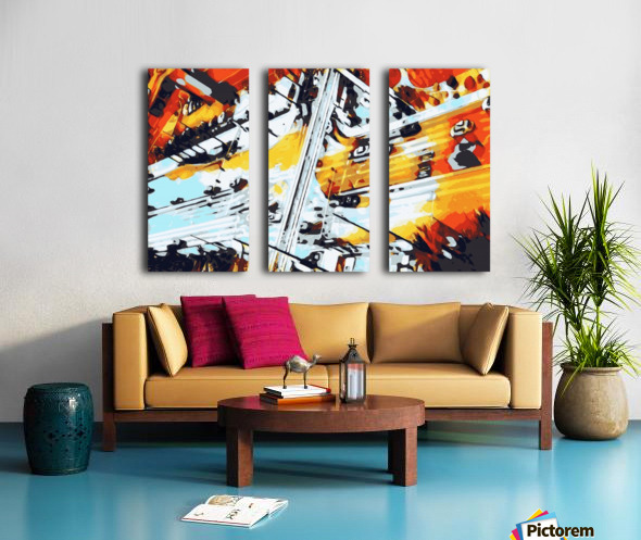 road in the city geometric abstract background Split Canvas print