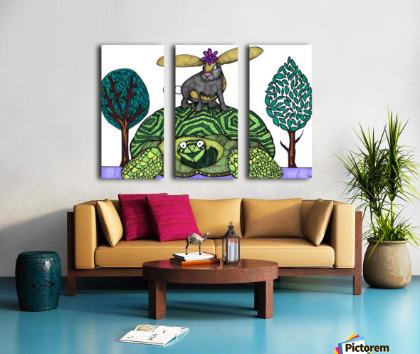 tortoise and hare Split Canvas print