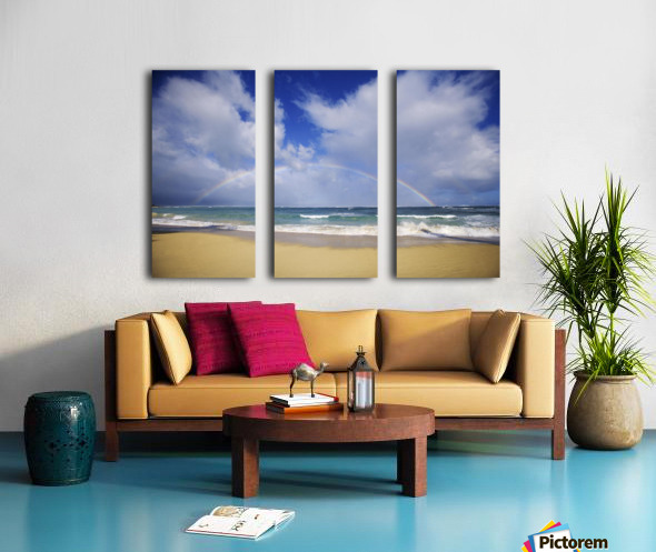 USA, Hawaii, Rainbow at Baldwin Beach; Maui Split Canvas print