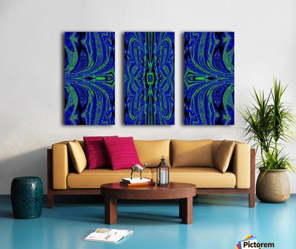 Blue Butterfly in Green Split Canvas print