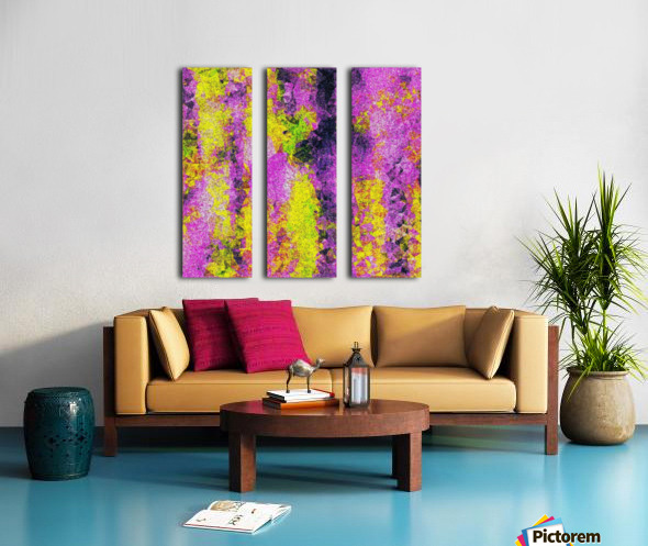 vintage psychedelic painting texture abstract in pink and yellow with noise and grain Split Canvas print