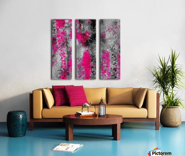 vintage psychedelic painting texture abstract in pink and black with noise and grain Split Canvas print