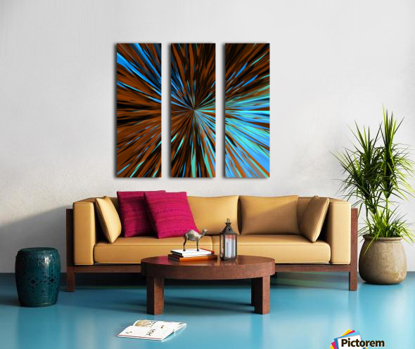 psychedelic splash painting abstract pattern in brown and blue Split Canvas print
