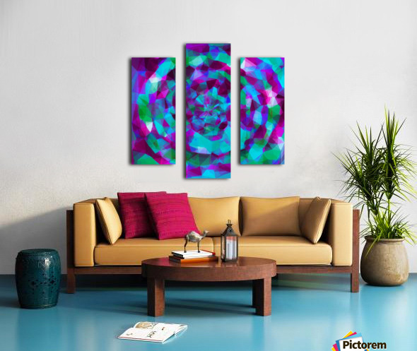 psychedelic geometric polygon pattern abstract in pink purple blue Canvas print