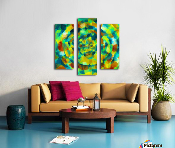 psychedelic geometric polygon pattern abstract in blue yellow green brown Canvas print