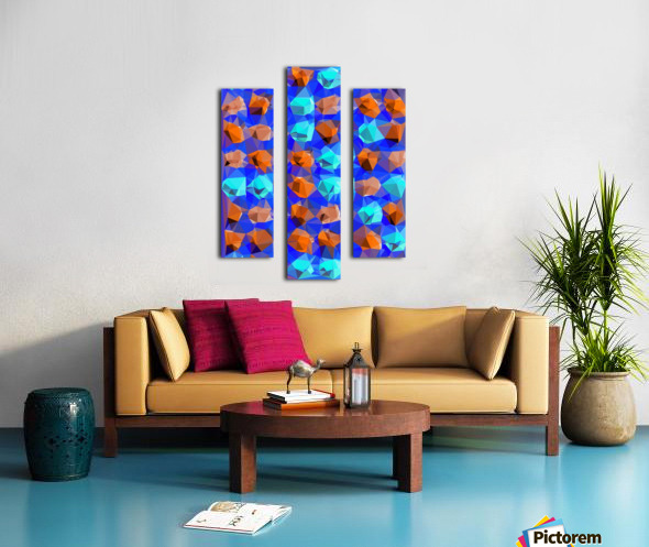 geometric polygon abstract pattern in blue and brown Canvas print