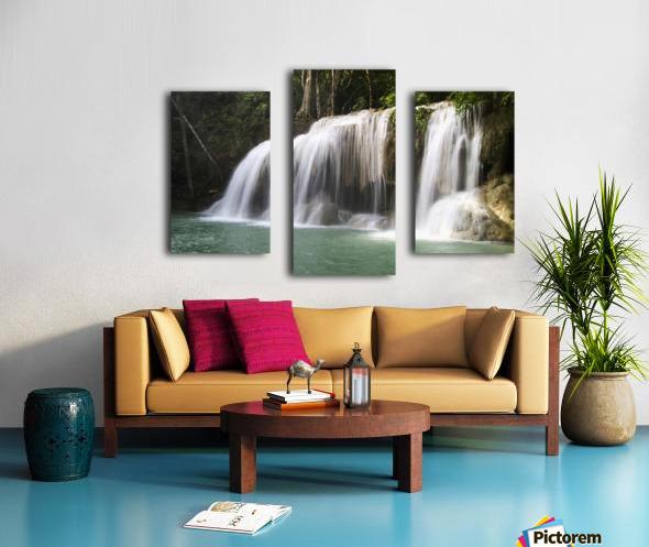 Thailand, Kanchanaburi Province, Erawan National Park, One Of The Falls From The 7-Tiered Erawan Waterfall Canvas print