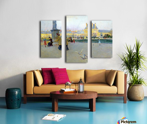 City view with figures and birds in Paris Canvas print