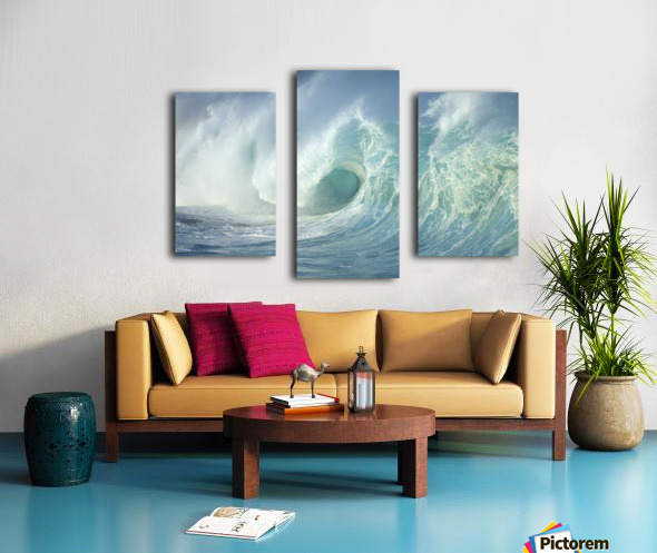 Huge Wave Curling, Crashing Side View Of Curl C1723 Canvas print