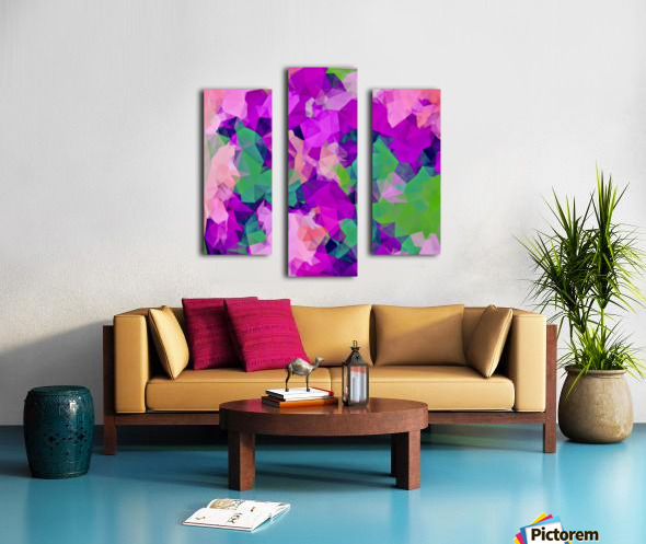 psychedelic geometric polygon pattern abstract in pink purple green Canvas print