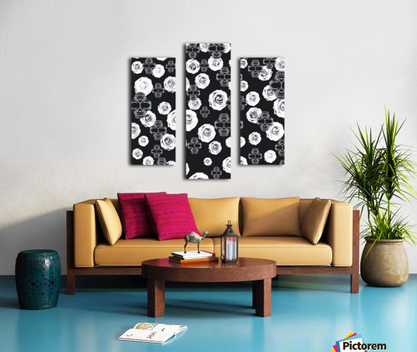 vintage skull and rose abstract pattern in black and white Canvas print