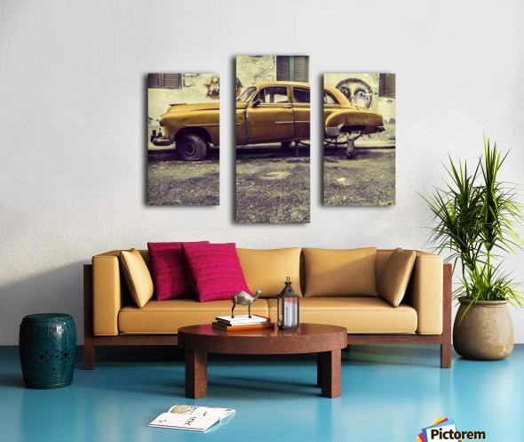 Old car cat Canvas print