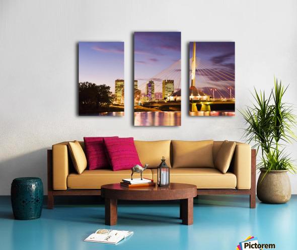 City Skyline, Red River And Provencher Bridge At Dusk, Winnipeg, Manitoba Canvas print