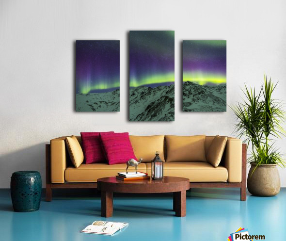 Aurora borealis over mountains within Denali National Park on a very cold winter night.  The Andromeda Galaxy is visible to the left; Alaska, United States of America Canvas print
