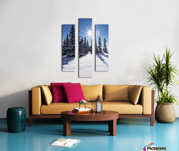 Snow covered evergreen trees on a snow covered hillside with blue sky and sun burst; Calgary, Alberta, Canada Canvas print