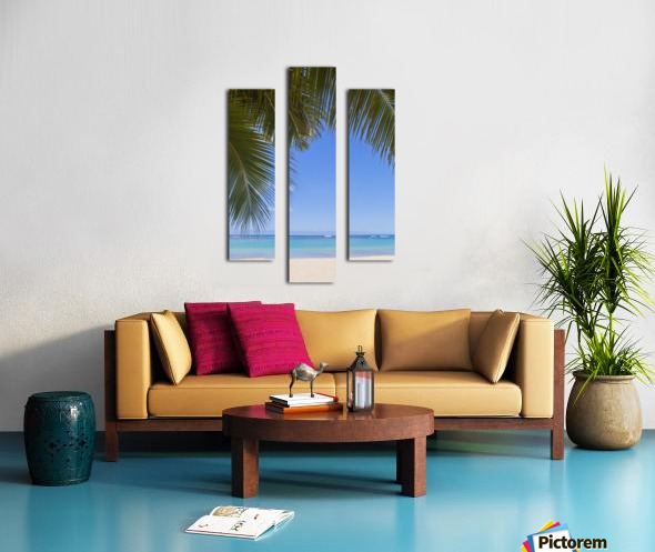 Beautiful clear day on a white sandy beach with coconut palm tree fronds hanging above; Honolulu, Oahu, Hawaii, United States of America Canvas print