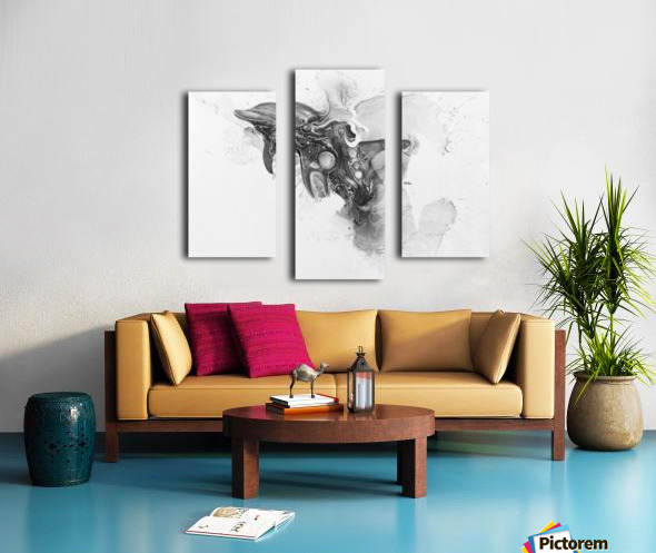 Illustration of a dolphin splashing through the surface of the water Canvas print