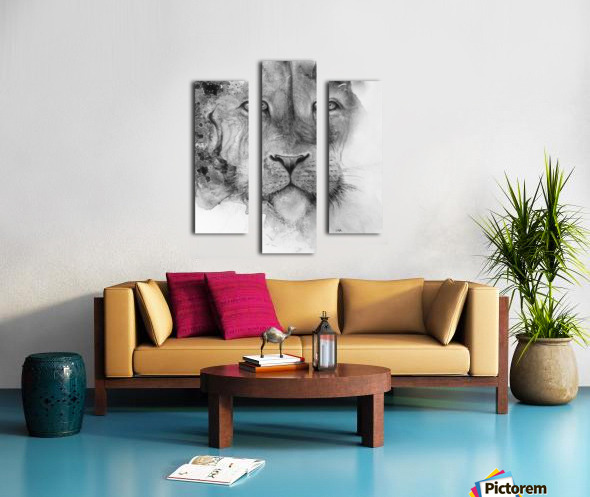 Illustration of a lion's face and a mottled background Canvas print