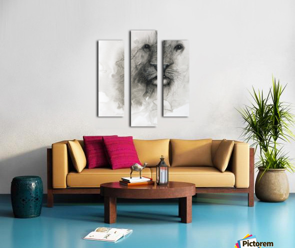 Illustration of a lion's face on a white background Canvas print