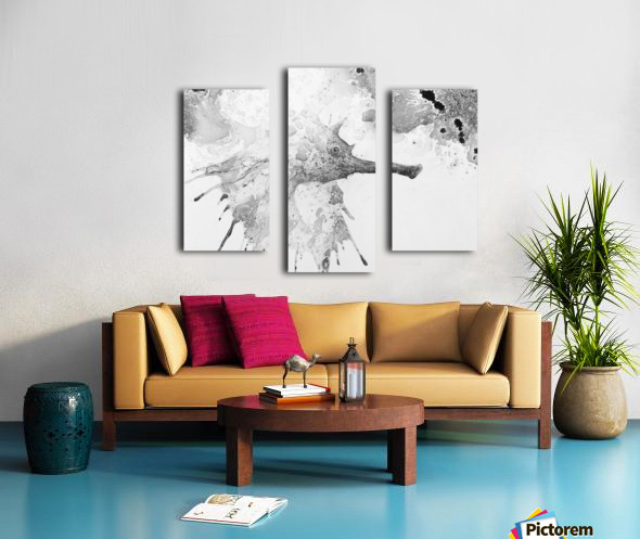 Illustration of fish with long nose surrounded by splashes and mottled abstract Canvas print