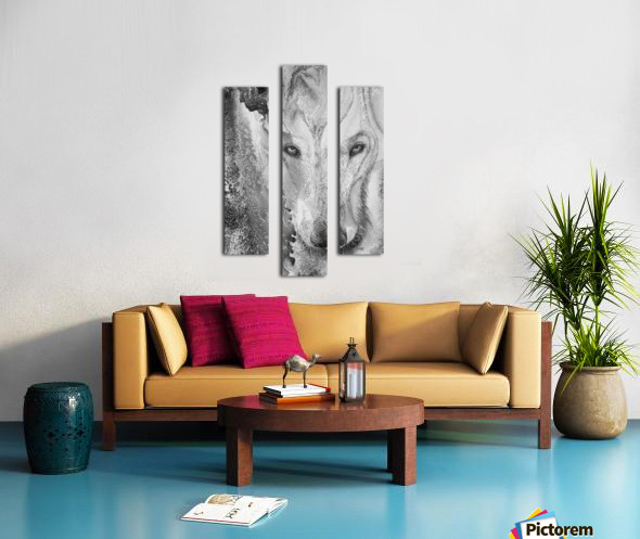 Illustration of a wolf and a mottled background Canvas print