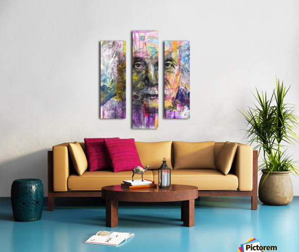 Illustration of a man's face with colourful abstract patterns surrounding it Canvas print