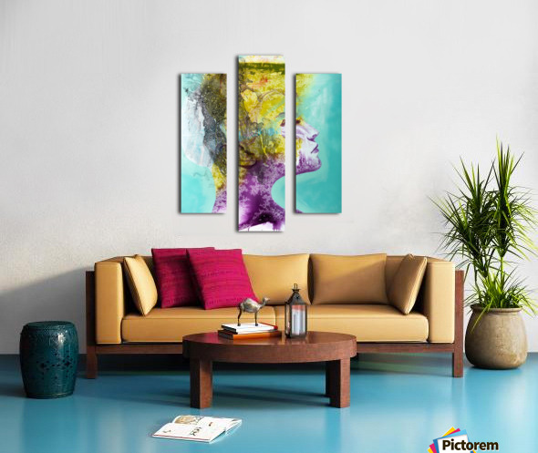 Illustration of a woman's head with colourful abstract patterns emerging from the back of the head Canvas print