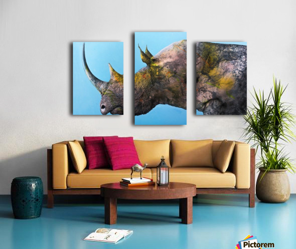 Illustration of a white rhinoceros against a blue background Canvas print