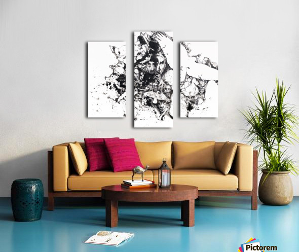 Black and white illustration of birds and human faces Canvas print