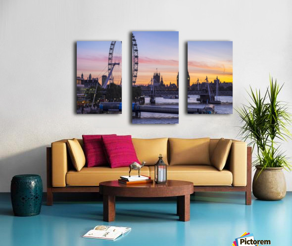 Millennium Wheel and skyline at sunset; London, England Canvas print