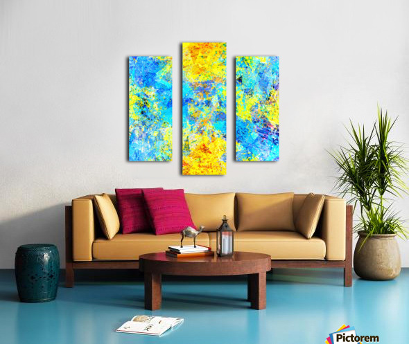 psychedelic geometric abstract pattern in yellow and blue Canvas print