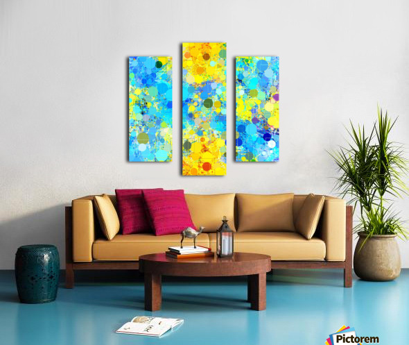 psychedelic geometric circle pattern and square pattern abstract in yellow and blue Canvas print